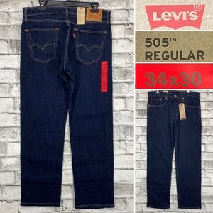 NWT Levis 505 Mens 34 x 30 Straight Dark Wash Jean
